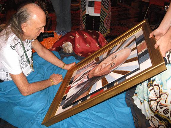 Bhagavan Adi Da Samraj receiving Io Free Jones' portrait of him,  Bhagavan Adi Da in Dusty Rose , 2008