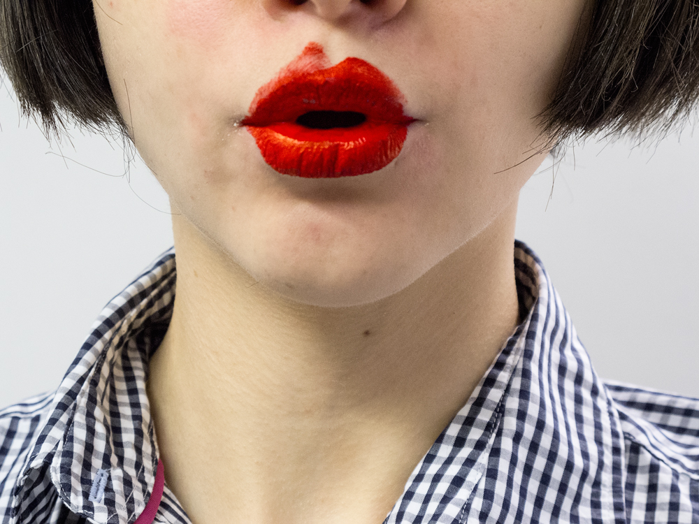 Painting Lips (Pucker), 2014   Pigment print on matte cotton rag paper, 16 x 12 inches, edition of 3