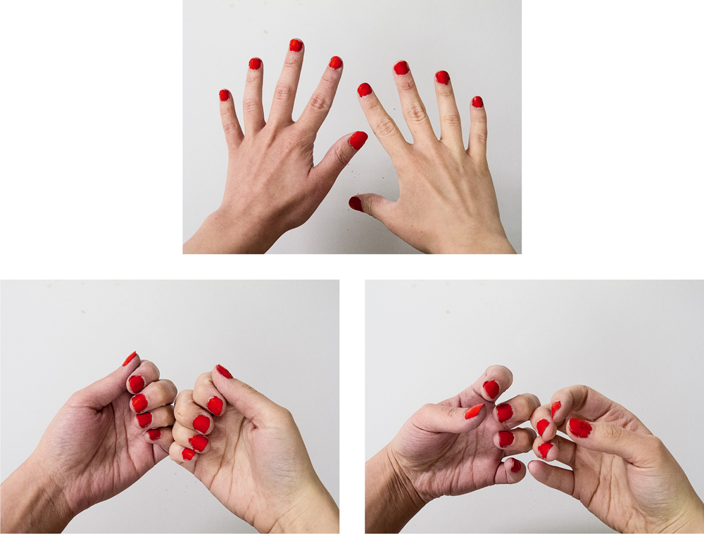 Painting Nails (Group), 2014        Pigment print on matte cotton rag paper, 13 x 19 inches, edition of 3