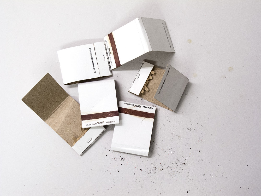 Matchbooks in Pile Not in Line, 2014   Pigment print on matte cotton rag paper, 13 x 19 inches, edition of 2