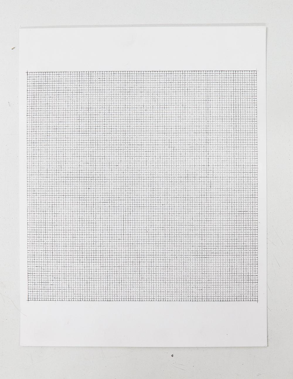 (PRISONTIME/PRISONINME: Transition to Metric) 2mm x 2mm on 20cm x 20cm,  2014   Pencil on semi-matte inkjet fiber paper, 8.5 in.x 11 in.