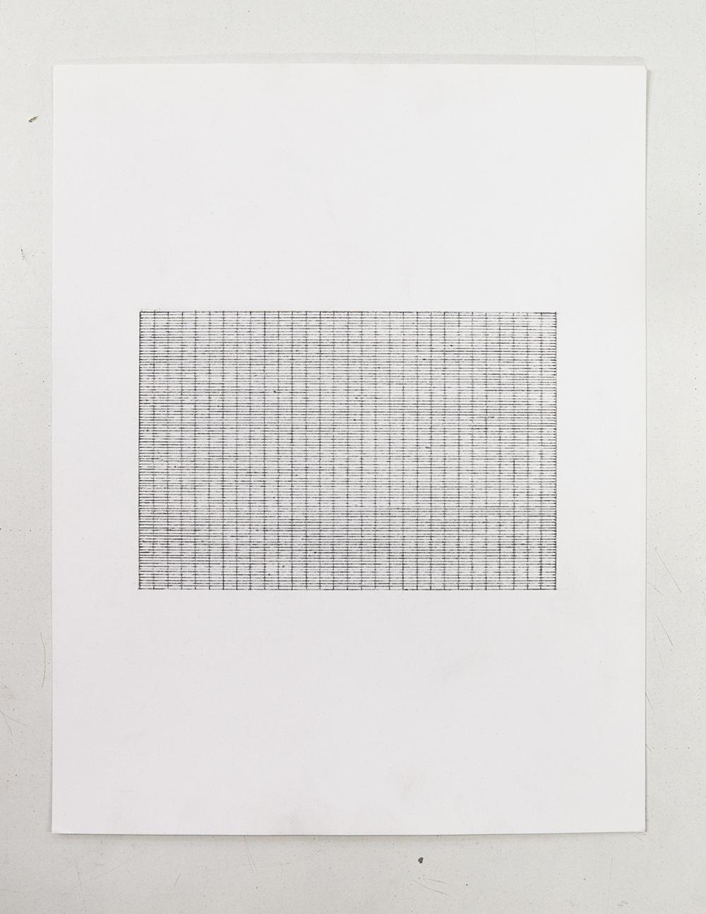(PRISONTIME/PRISONINME: Transition to Metric) 1  5mm x 1mm on 5cm x 10cm,2014   Pencil on semi-matte inkjet fiber paper, 8.5 in.x 11 in.