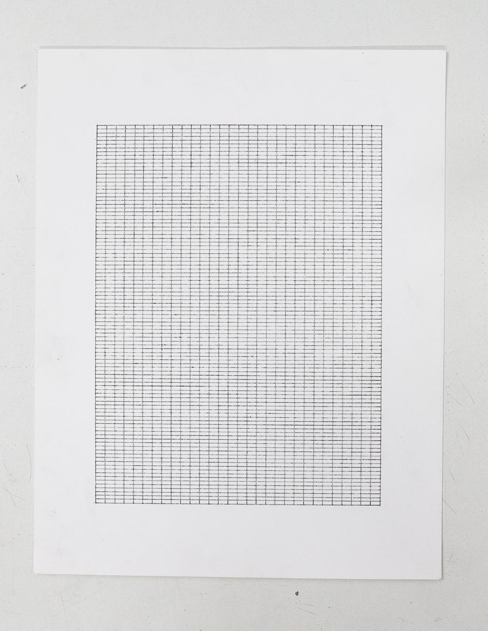 (PRISONTIME/PRISONINME: Transition to Metric)   5mm x 2mm on 15cm x 20cm  ,2014   Pencil on semi-matte inkjet fiber paper, 8.5 in.x 11 in.