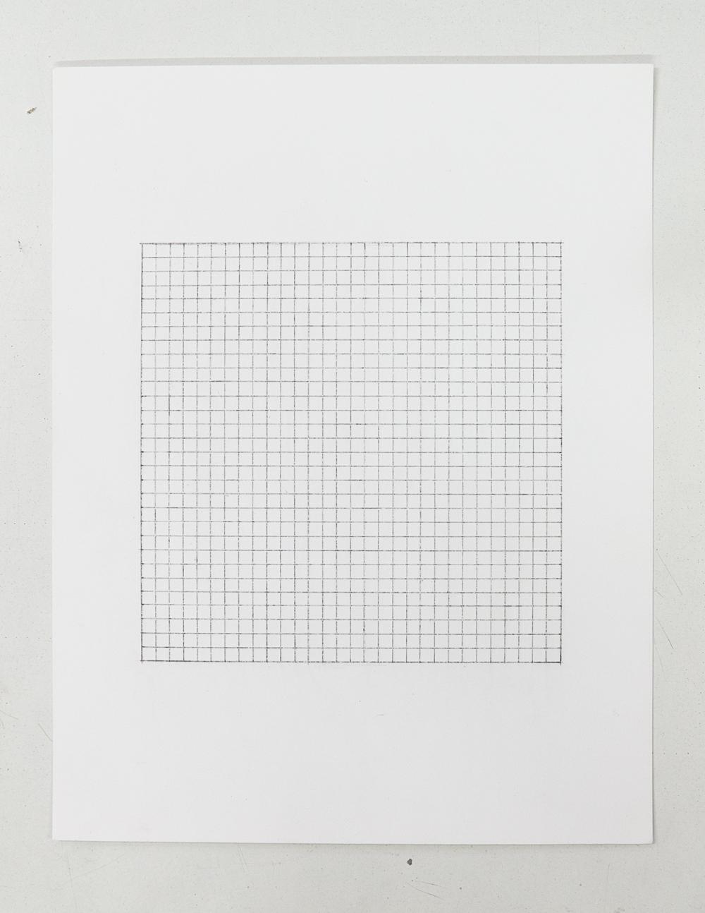 (PRISONTIME/PRISONINME: Transition to Metric)   5mm x 5mm on 15cm x 15cm  ,2014   Pencil on semi-matte inkjet fiber paper, 8.5 in.x 11 in.