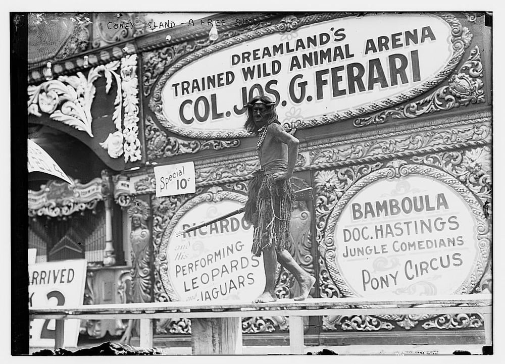 """Turning the tip"" (which means, getting passersby to come see a show) at Dreamland, Coney Island, 1911 (h/t: Library of Congress)."