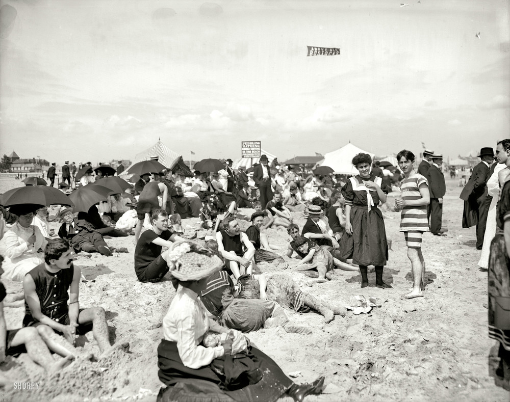 Enjoying the beach on Coney, circa 1904.  (h/t Shorpy)