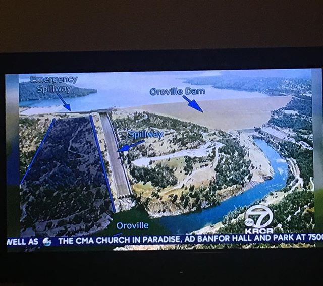 Guys. It's NOT the dam that is breaking. The spillway has a massive hole & the emergency spillway (the most pressing issue) has significant erosion. The reason for the evacuation is if the erosion under the emergency spillway is so vast that there is great risk it could collapse and cause significant flooding. Still a huge concern, but the integrity of the dam itself is intact. The water is at +.02 feet until it stops overflowing atop the emergency spillway. However, there is still massive pressure on the backside of the emergency spillway where the erosion is. Yes, it's dangerous & Im praying for all those involved (especially the engineers!) - Just please be clear when communicating what is happening. The dam is not at risk of breaking.  #lakeoroville