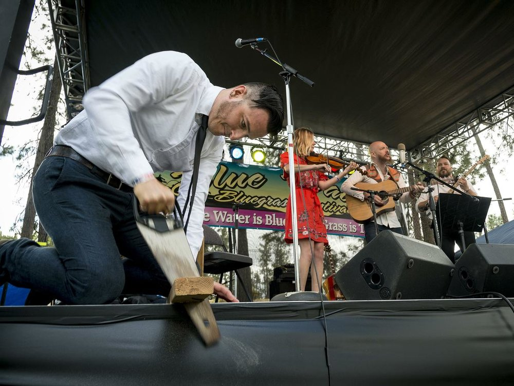 The Bust It Like A Mule Band performs Kevin Morgan's 'Workin Man' - Photo credit Colin Mulvaney, Spokesman Review