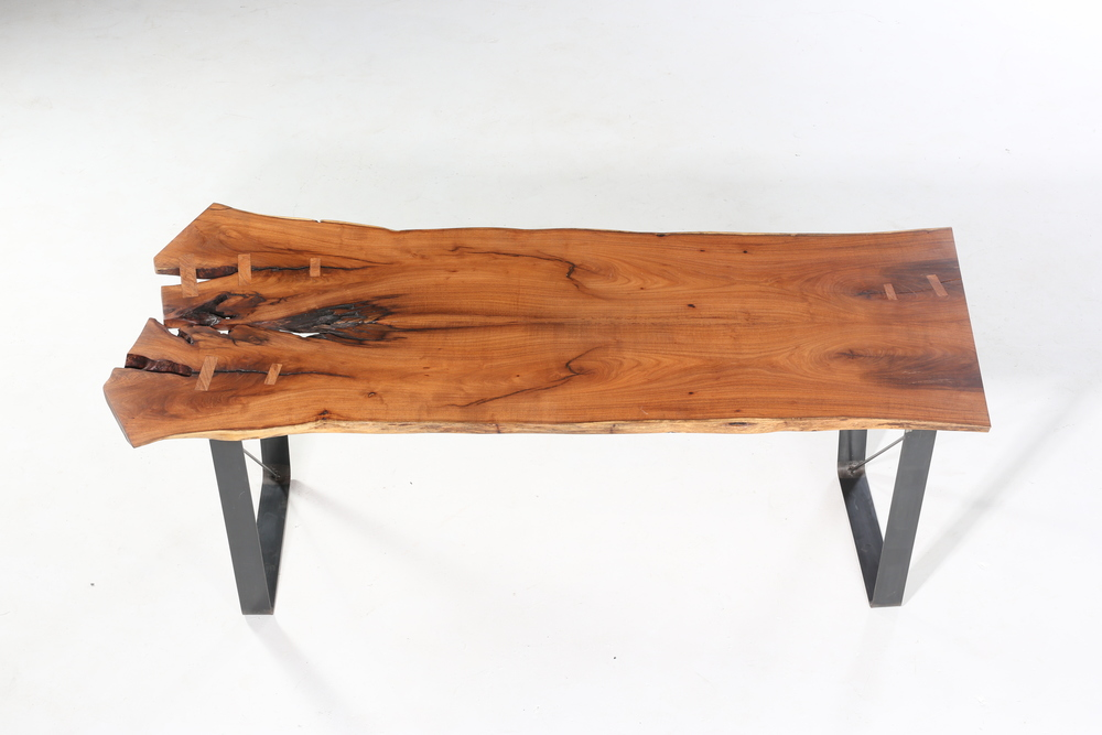 live edge mesquite desk w/ raw steel base  3,275.00
