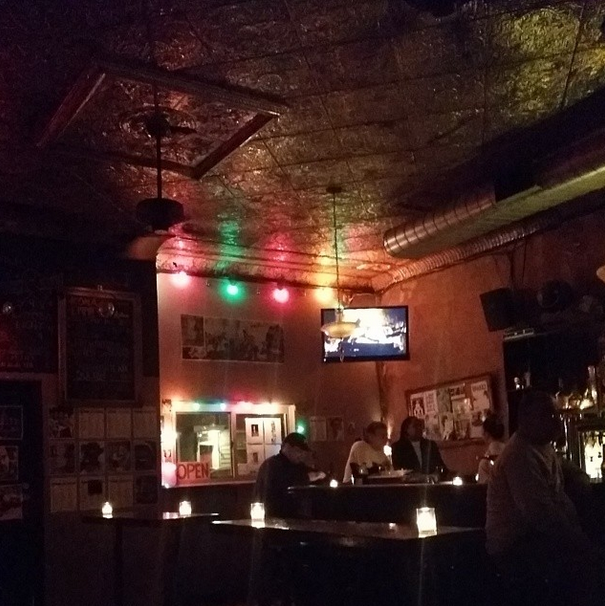 Drinks with friends at Mary's Bar in Brooklyn. Look at the beautiful tin ceiling.