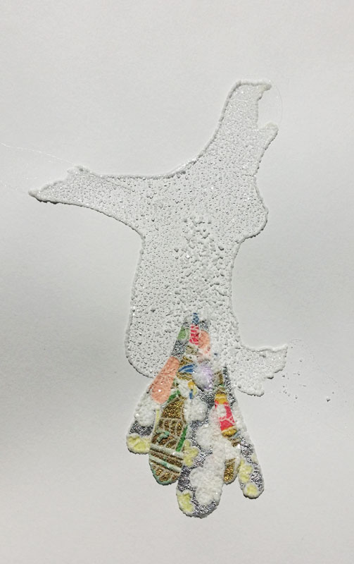 Decorative paper collage with salt spill.  April 2014