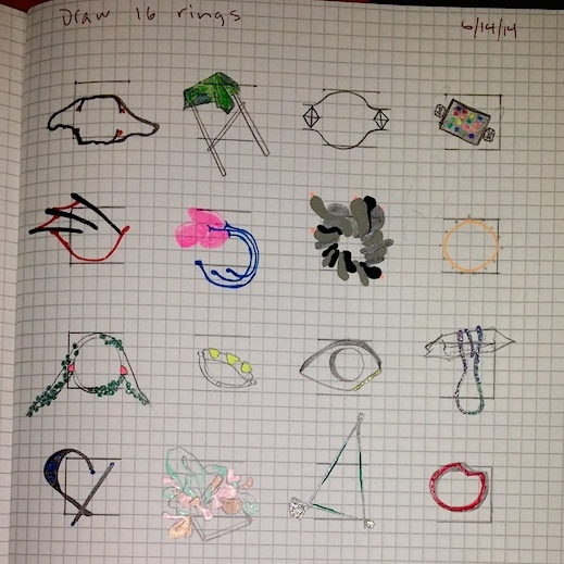 Self-assigned ring design homework (draw 16 rings in 1 hour). Gel pen, graphite.