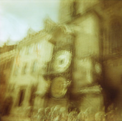 HQME of the Astronomical clock in Prague (Holga 120GN and Lomography Redscale XR50-200). I made about 20 exposures of the clock on one frame.