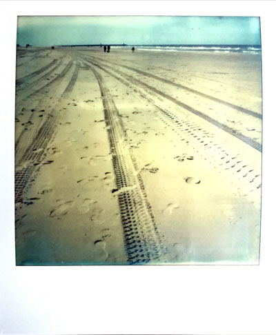 Tire tracks (Polaroid SX-70 and Impossible Project colour film)