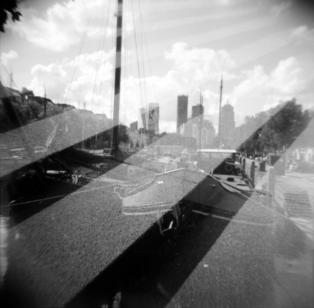 This is one of the double exposures I shot for the 2015 double exposure project. Holga 120N and Kodak T-Max 100.