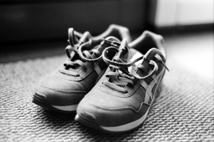 Here's one from week 1 of 52 rolls: my sneakers. (Nikon EM and Kodak Tri-X)