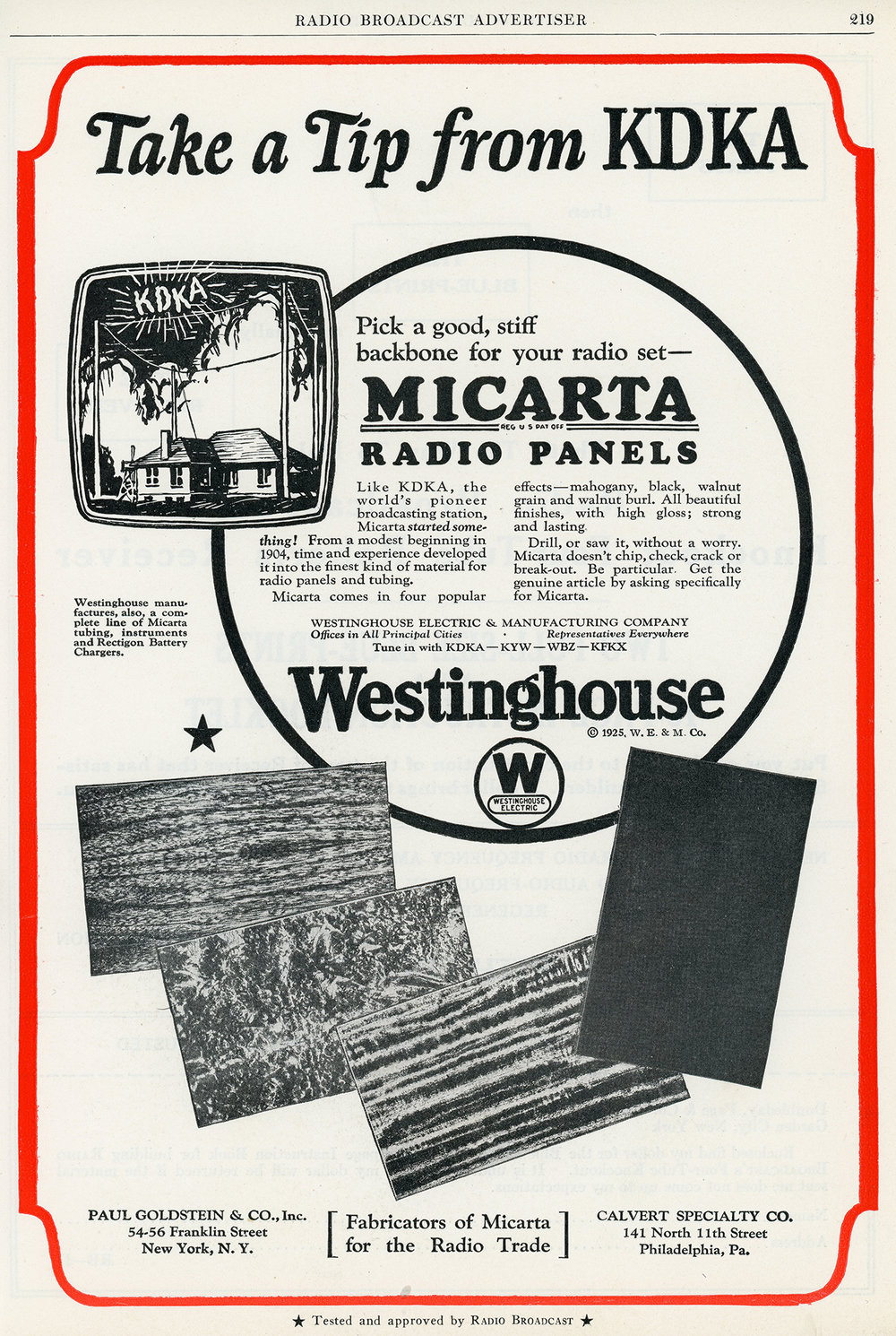 Westinghouse Micarta Radio Panels