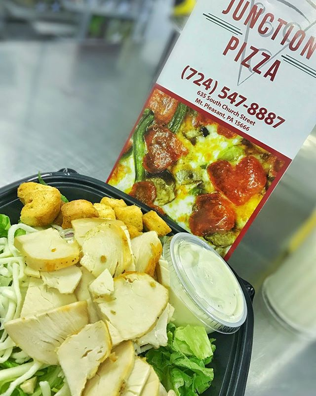 Try one of our 💯 real chicken salads! No rib meat frozen chicken at The Junction! #thejunctiopizza #mtpleasantpa #eeeeeats #chickensalad #lunchtime🍴 #bestintown #instafood #smallbusinesslove