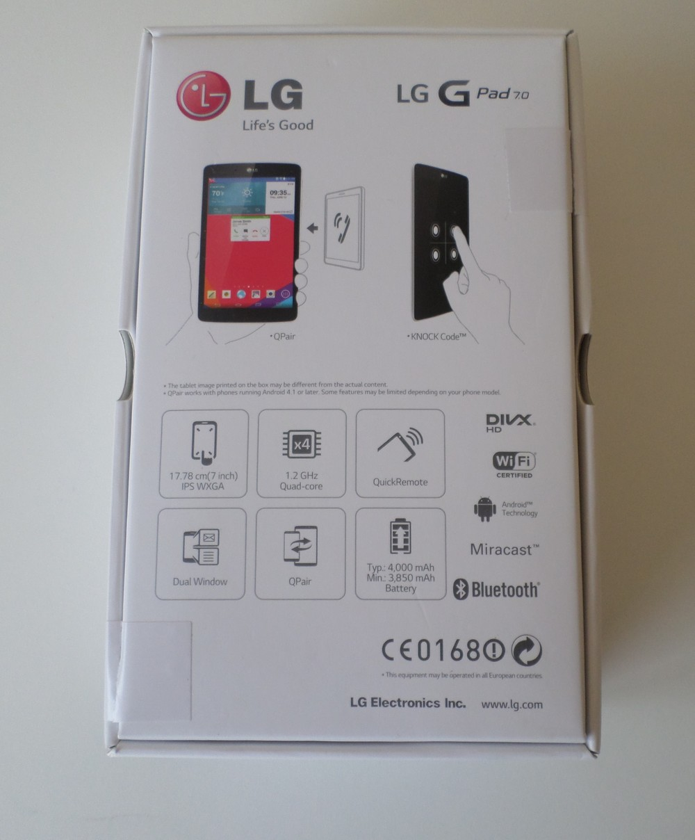 LG GPad 7.0 Retail Packaging