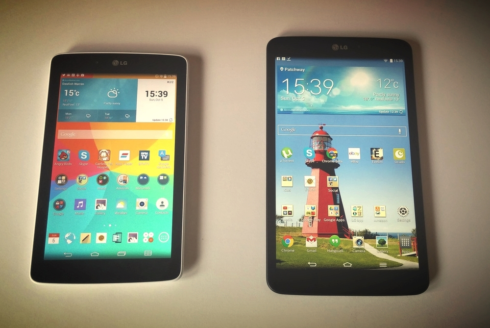 LG GPad 7.0 (2014) on the left and LG GPad 8.3 (2013) on the right
