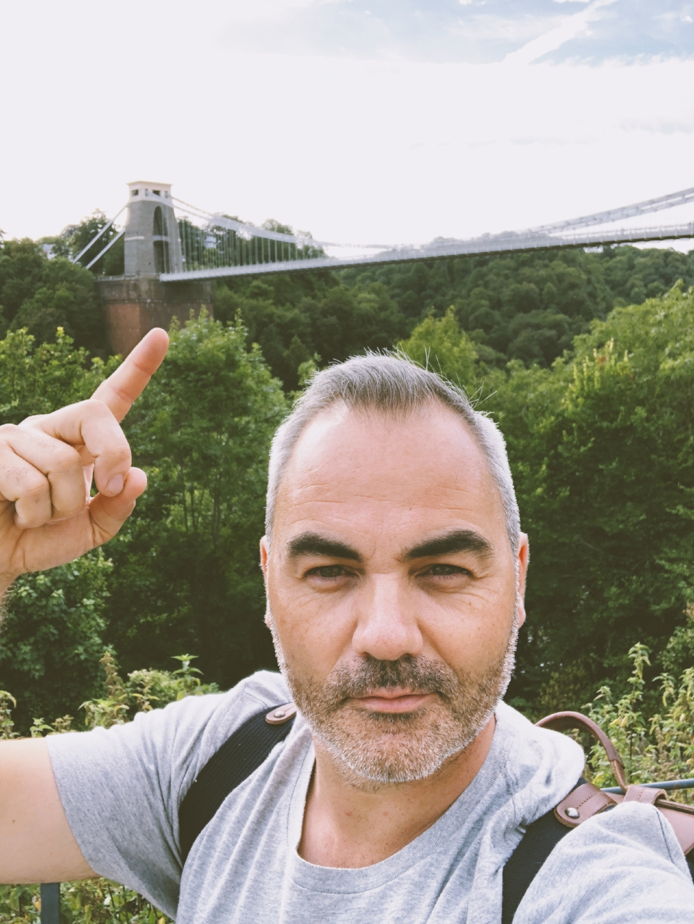 View to the Suspension Bridge. iPhone 8 Plus Front Camera. Wait a minute! Who's that handsome guy!