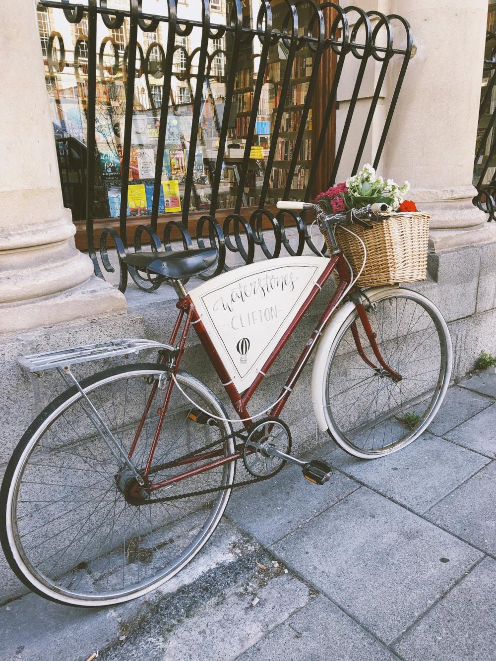 A bike outside Waterstones Book store.