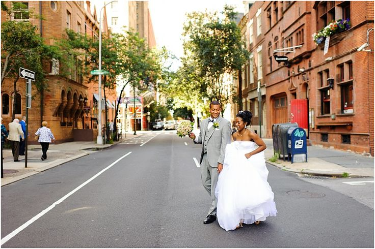 a - Free Library of Philadelphia Wedding - walking through street.jpg