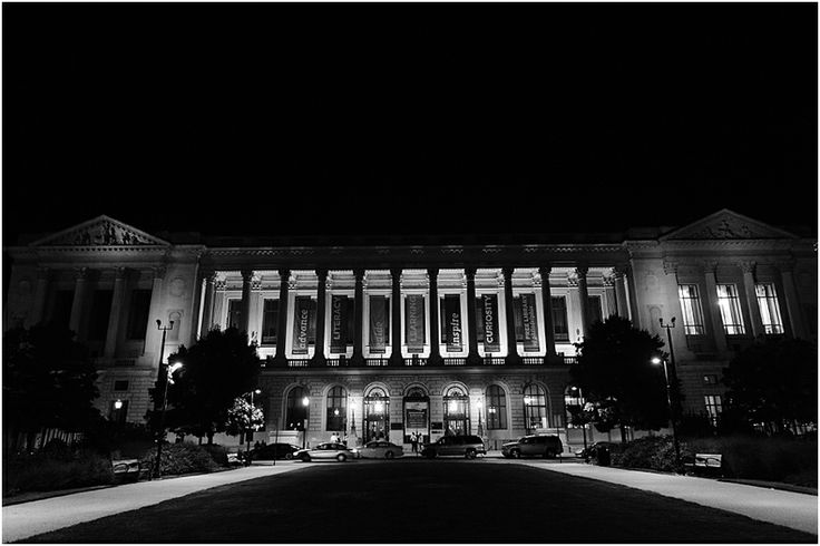 a - Free Library of Philadelphia Wedding - outside night shot bw.jpg