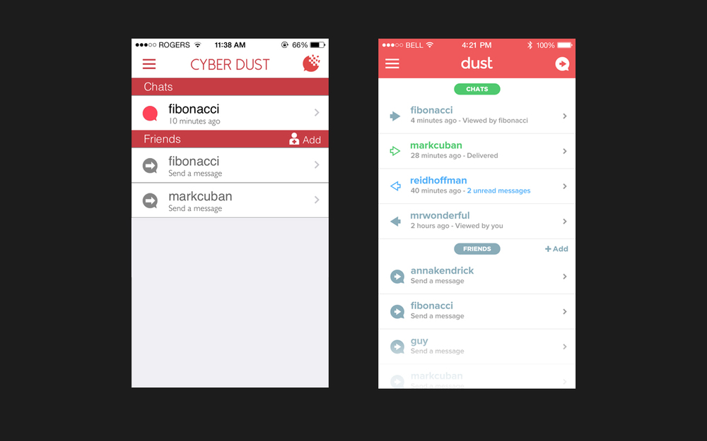 Left: Current App.  Right: My Redesign