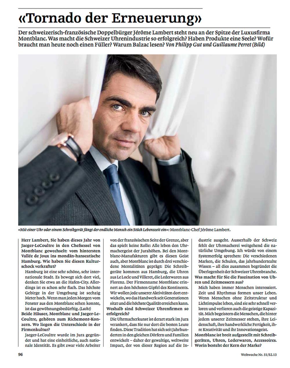 Jerome Lambert (CEO Montblanc) / Die Weltwoche