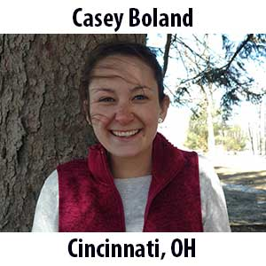 Casey Boland  (Cincinnati, Ohio) B.S. (2018) in Environmental Biology from the University of Dayton. Although the importance of our natural world was instilled in Casey at a young age, it didn't blossom into a passion for her until college. Now an avid hiker, casual gardener, and vehement environmental steward, Casey is happiest when spending time outdoors. In addition, Casey is in her fourth year of veganism--a piece of her identity she considers very important. When she is not playing outside or cooking up a storm Casey can be found reading, dancing, or daydreaming about the desert.