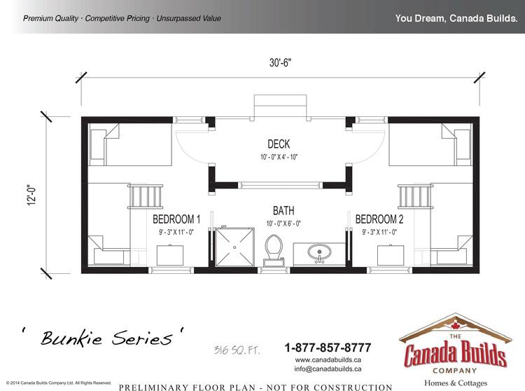 2 bedroom bunkie plans home plans ideas for Cottage bunkie plans