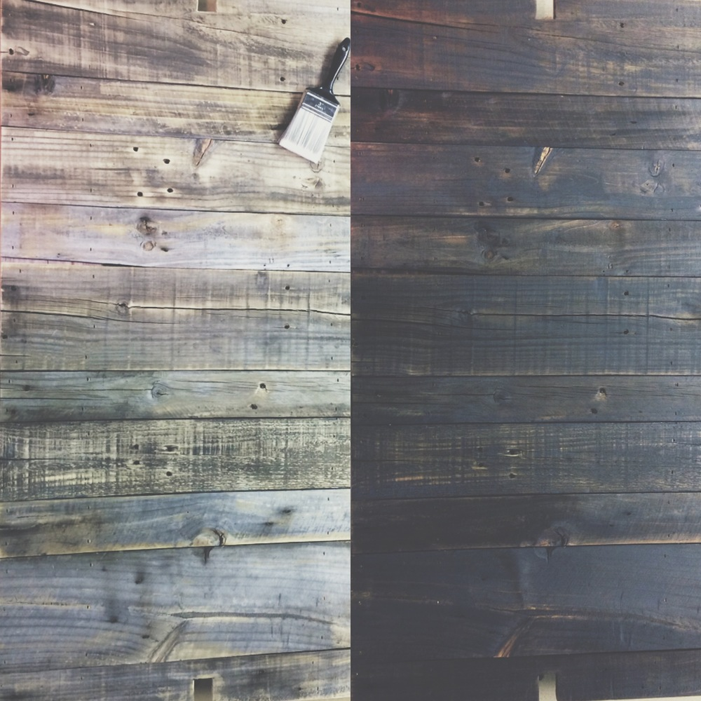 """This is the shelf before and after staining. I used one coat of MinWax's """"Early American."""""""