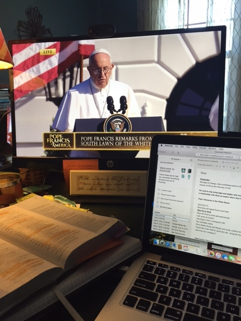 Here's a message reflection on the arrival of Pope Francis to the states and God's healing power in my life.