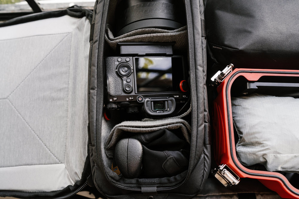 Packing up my gear in this way allowed me to keep my essential daily shooting gear inside the sling, while keeping the rest of my gear safe and available at the hotel to swap out as needed for each activity.
