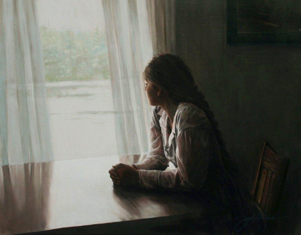 """""""Une Fenetra""""  Oil on Linen Canvas  24x36"""