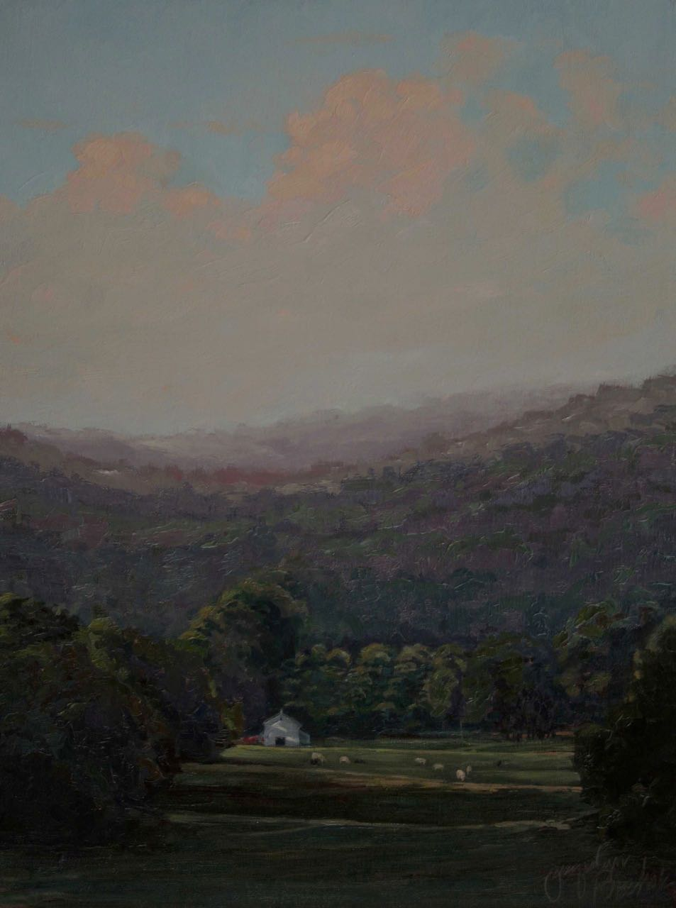 """Joyfield Valley""  Oil Linen Board 18x12"