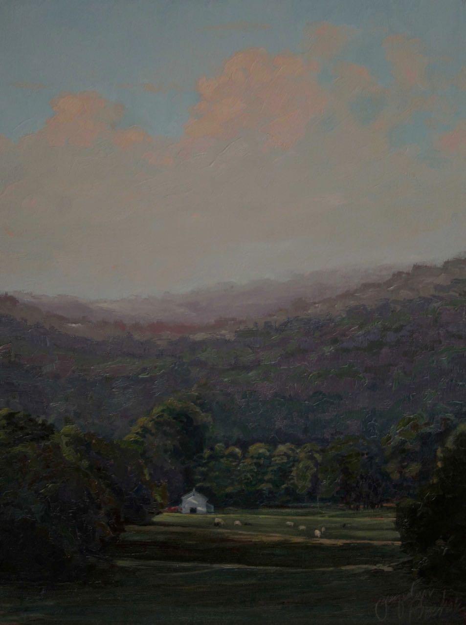 """""""Joyfield Valley""""  Oil Linen Board 18x12"""