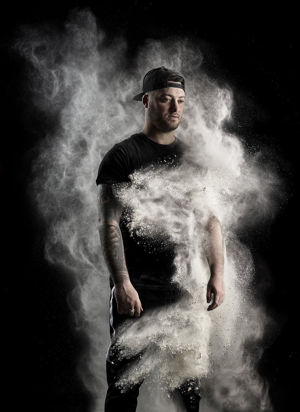 Portraits of Drum and Bass DJ Macky Gee.   A collaboration with portrait photographer Jessica Van Der Weert.