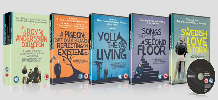 Roy Andersson Boxset Collection included 4 films. Each Inlay was designed to fit in within the Pigeon Creative.