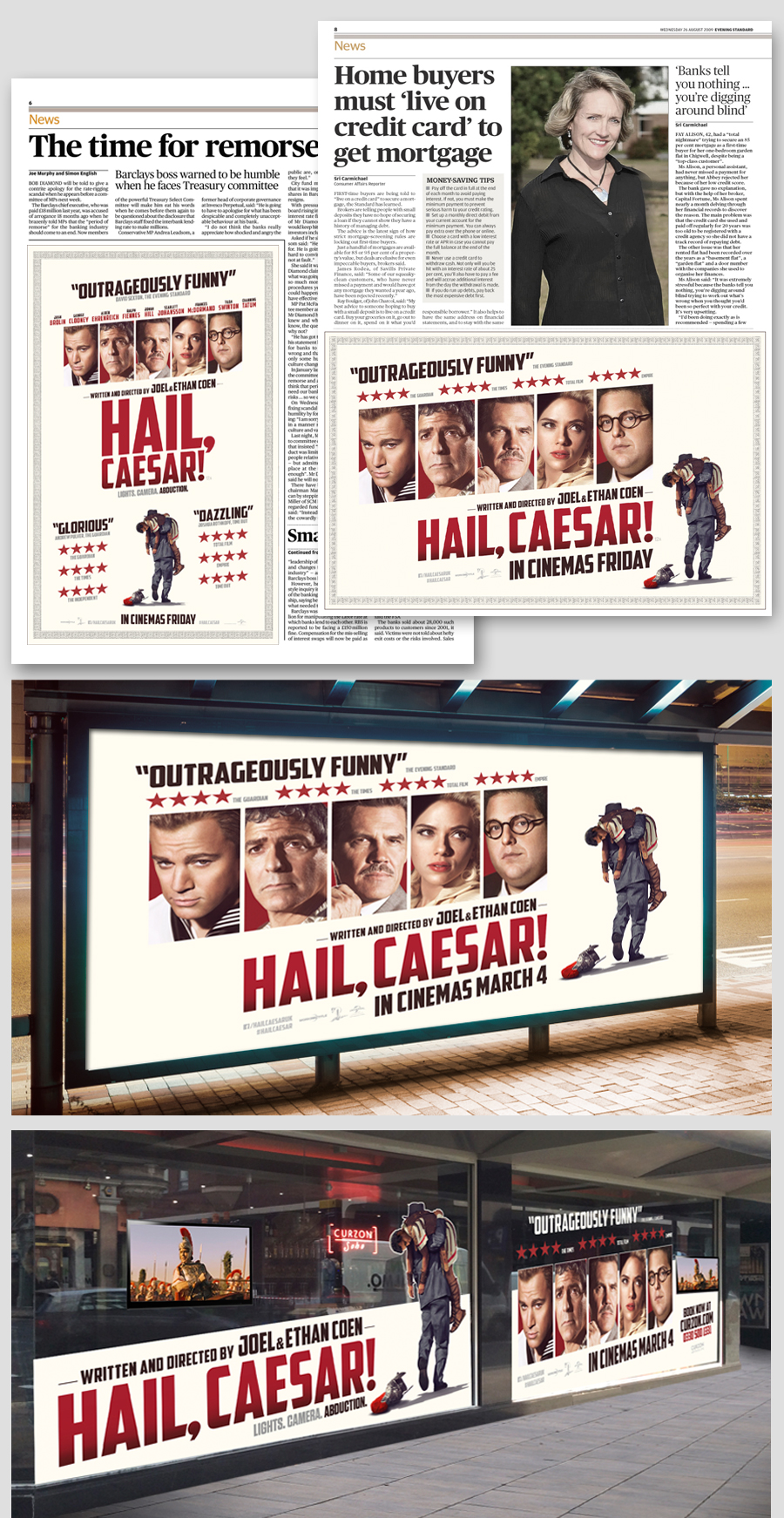 Multiple Press Executions, OOH including 12 sheets and a Curzon Window Takeover