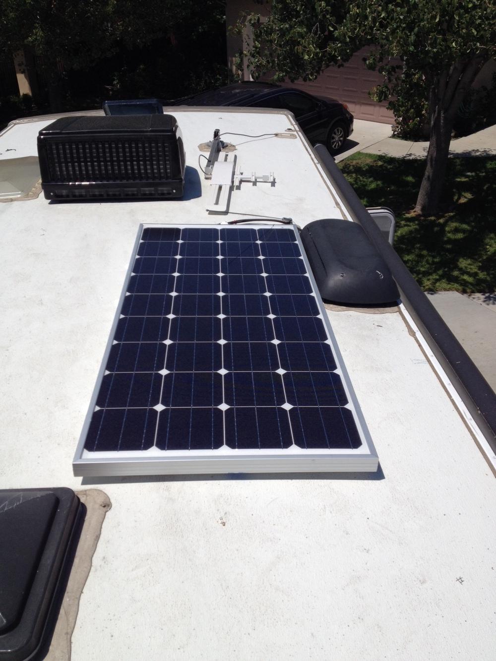 160 watt panel mounted on the roof.