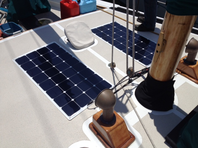 Double solar flex on a sailboat.