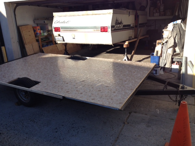 Chalet trailer frame with new flooring and vinyl.