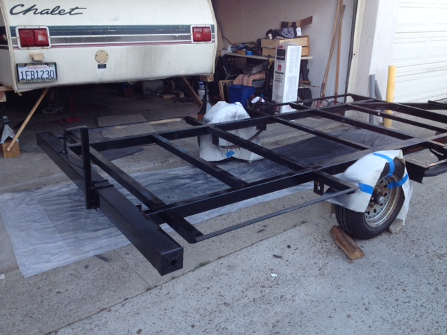 Chalet trailer frame freshly painted.
