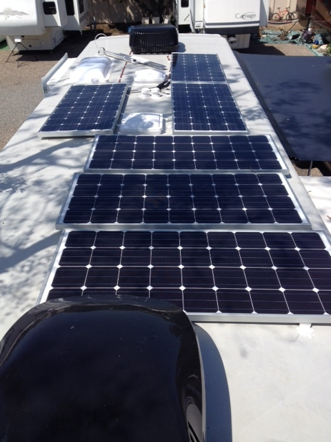 6 - 160 watt solar panels for a total of 960 watts of battery charging power.