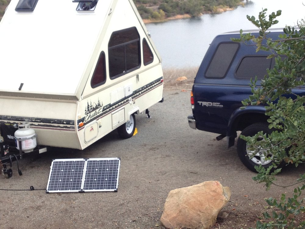 Add a PORTABLE 80 Watt Solar Panel Kit to your Chalet.