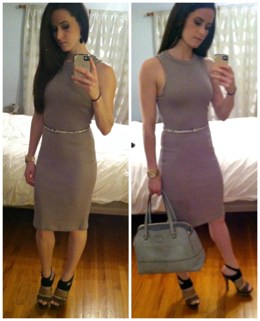 Quinn dress, Banana Republic belt, Pelle Moda platform pumps, Michael Kors watch, Betsey Johnson earrings, Kate Spade bag