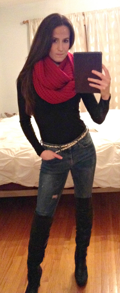 Banana Republic top, scarf, and belt, Hudson jeans, Guess knee-high boots