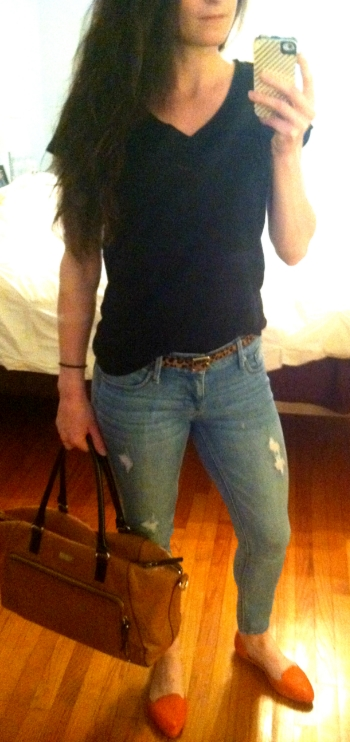Gap black t-shirt, Hudson jeans, Restricted loafers, Target belt, Kate Spade faux-ostrich bag